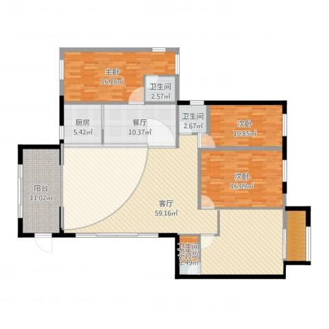 中兴花园二期3室2厅3卫1厨176.00㎡户型图