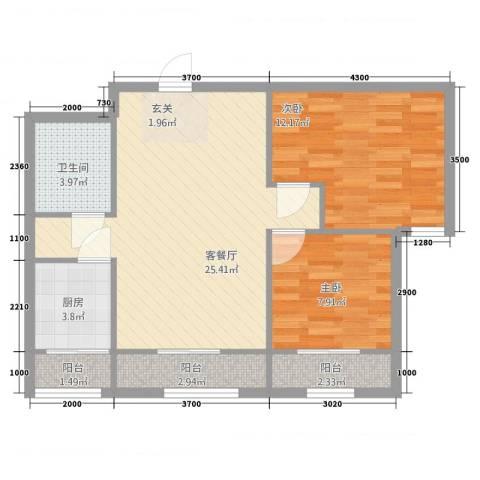 新纪元公寓2室2厅1卫1厨113.00㎡户型图