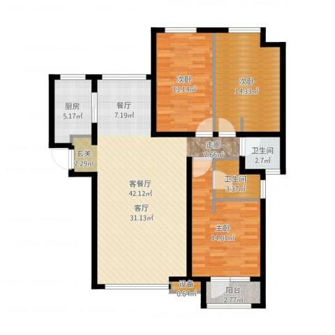 天成佳境3室2厅2卫1厨123.00㎡户型图