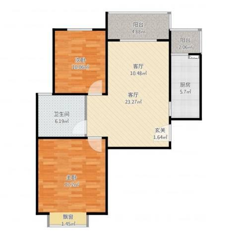 金色花语城2室1厅1卫1厨87.00㎡户型图
