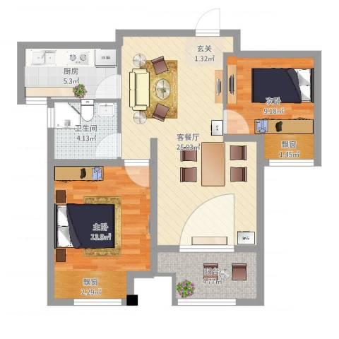 东风公寓(青浦)2室2厅1卫1厨62.32㎡户型图