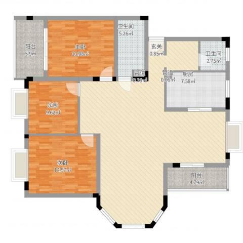 康城水云间3室2厅2卫1厨167.00㎡户型图