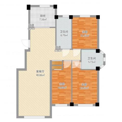 三鼎春天3室2厅2卫1厨122.00㎡户型图