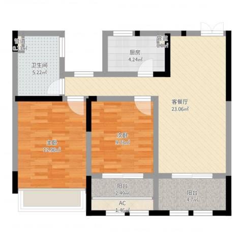 奥体新城2室2厅1卫1厨80.00㎡户型图