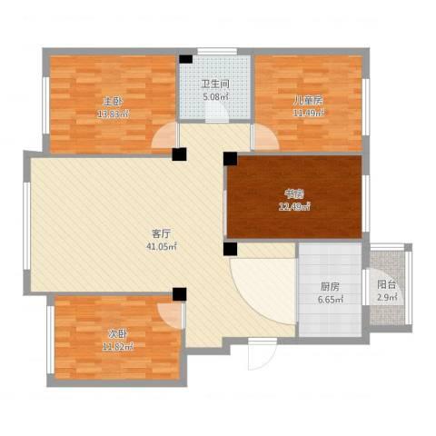 佳地花园4室1厅1卫1厨132.00㎡户型图