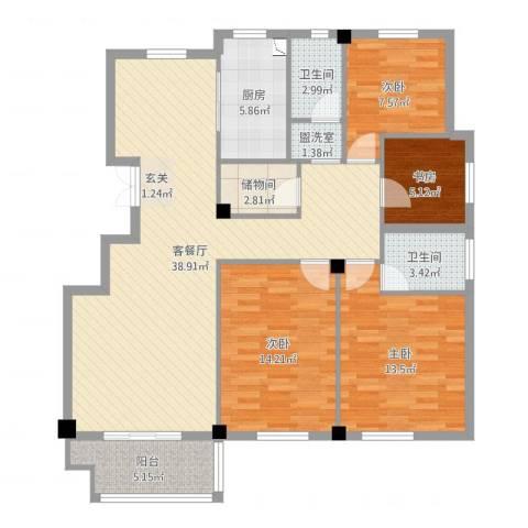 尚湖中央花园4室4厅2卫1厨126.00㎡户型图