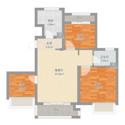 象屿上海年华3室2厅1卫1厨78.00㎡户型图