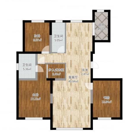 景康名苑3室2厅2卫1厨130.00㎡户型图
