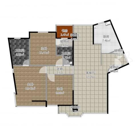 万象新天4室2厅2卫1厨122.00㎡户型图
