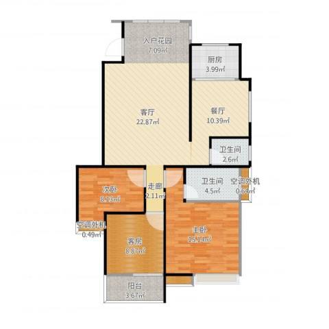 大姑新房3室1厅4卫2厨90.07㎡户型图