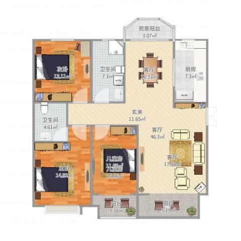 泰丰观湖3室1厅2卫1厨140.00㎡户型图