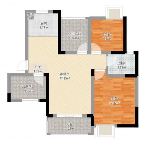 瑞泽源一里洋房2室2厅1卫1厨79.00㎡户型图