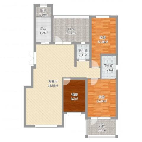 豪邦缇香公馆3室2厅2卫1厨123.00㎡户型图