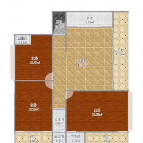 自建房3室2厅3卫1厨174.00㎡户型图