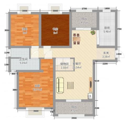 侨城中央公园3室2厅1卫1厨79.88㎡户型图