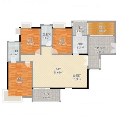 金域中央天玺3室1厅4卫1厨145.00㎡户型图