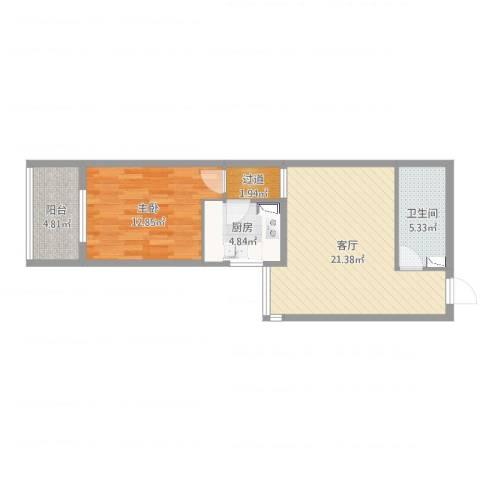 惠中北里1室1厅2卫1厨64.00㎡户型图