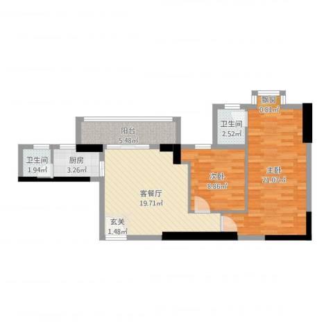 东堤水岸2室2厅2卫1厨79.00㎡户型图