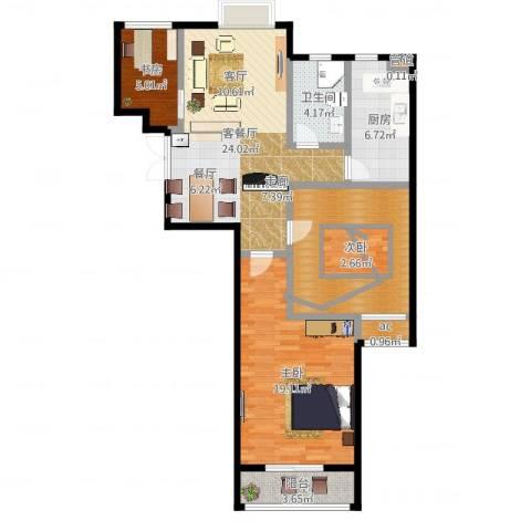 百利广场3室2厅1卫1厨96.00㎡户型图