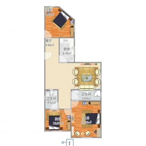 富丽公寓西区3室1厅2卫1厨132.00㎡户型图