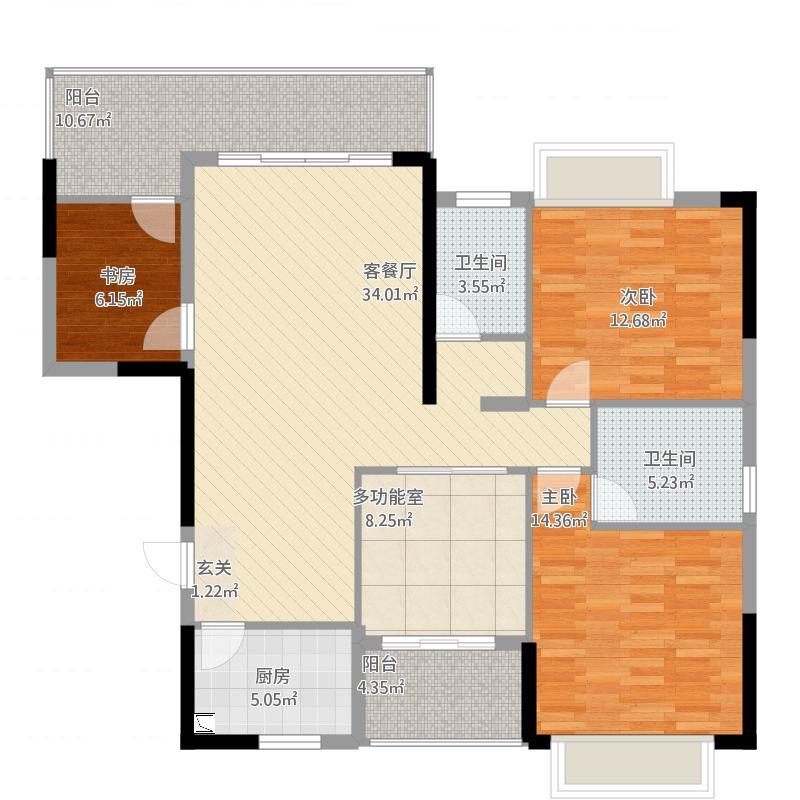 金山湖卧龙传说A4户型4室2厅2卫约127.25平米A4户型