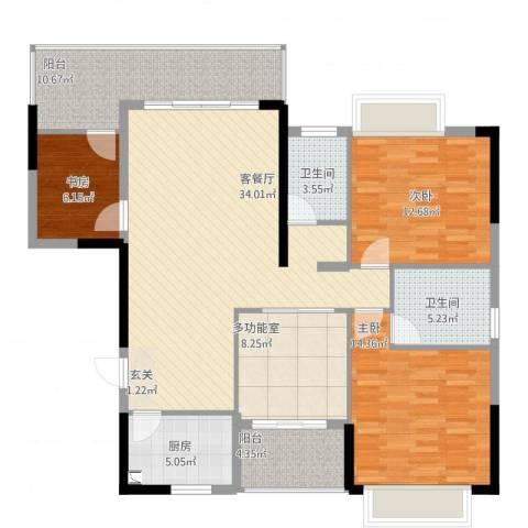 金山湖卧龙传说3室2厅2卫1厨147.00㎡户型图