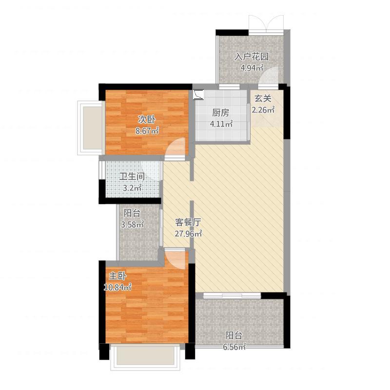 金山湖3中锴华章3室2厅1卫,约89.20平米