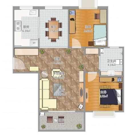 怡水花园2室1厅1卫1厨87.00㎡户型图