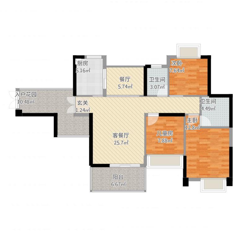 金山湖3中锴华章3室2厅2卫,约114.87平米