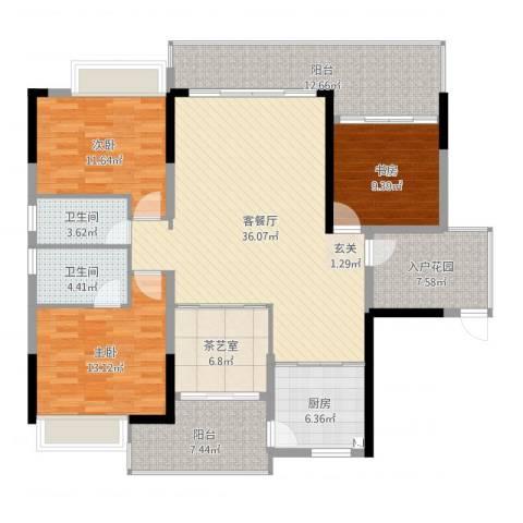 金山湖卧龙传说3室2厅2卫1厨168.00㎡户型图