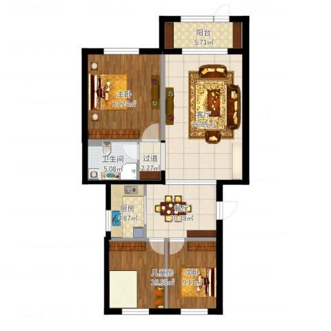 水韵名居二期2室2厅1卫1厨115.00㎡户型图