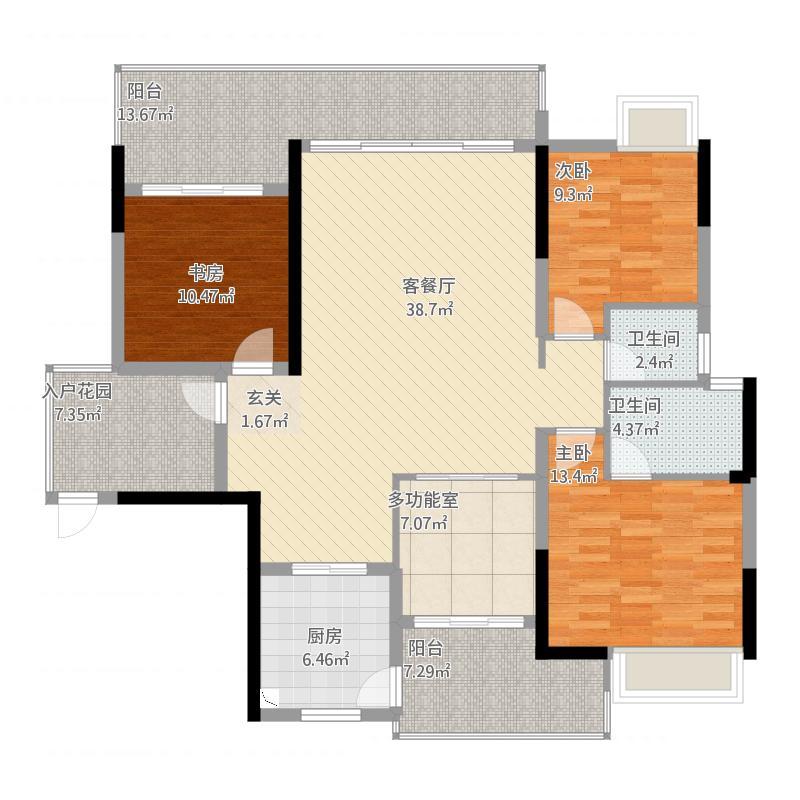 金山湖卧龙传说B3户型,4室2厅2卫,约133.53平米