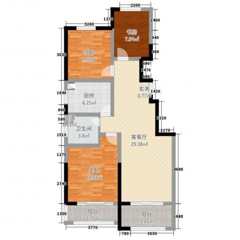 和谐家园3室2厅1卫1厨116.00㎡户型图
