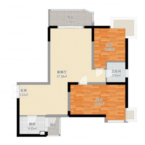 丽都大厦2室2厅1卫1厨101.00㎡户型图