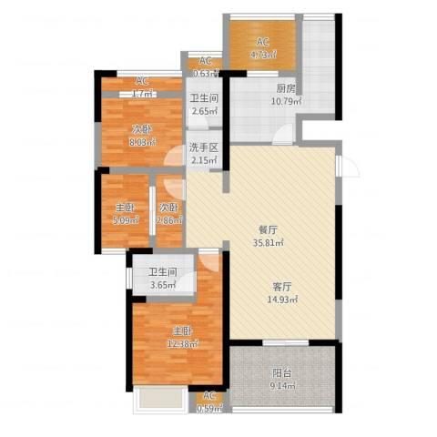 大兴九臻4室1厅2卫1厨123.00㎡户型图