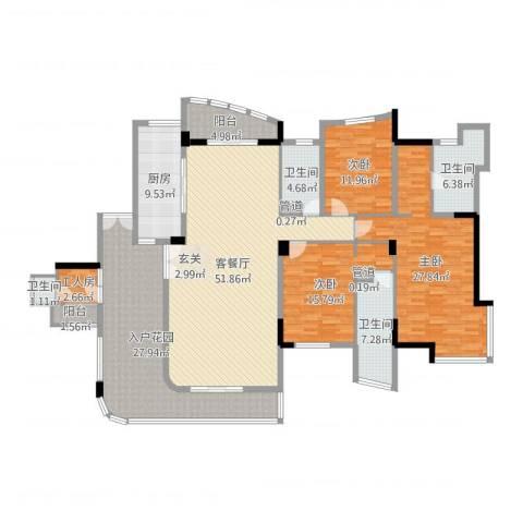 星河传说3室2厅4卫1厨218.00㎡户型图