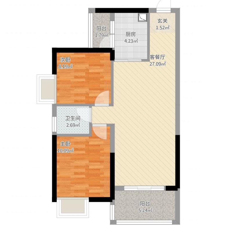 金山湖3御水豪庭3栋0102户型,约85平米
