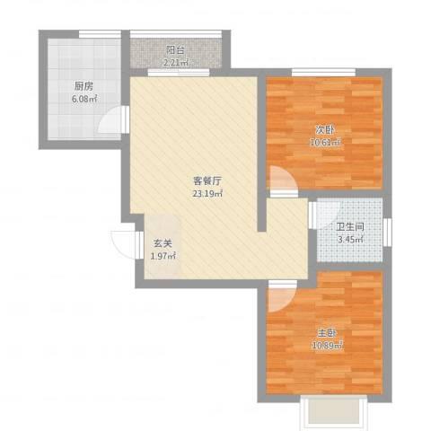 振兴花园2室2厅1卫1厨82.00㎡户型图