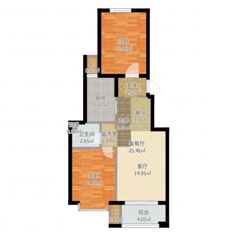 北京城建·海梓府2室2厅2卫3厨81.00㎡户型图