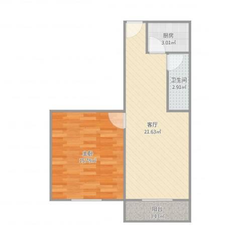 新庄新村1室1厅1卫1厨58.00㎡户型图