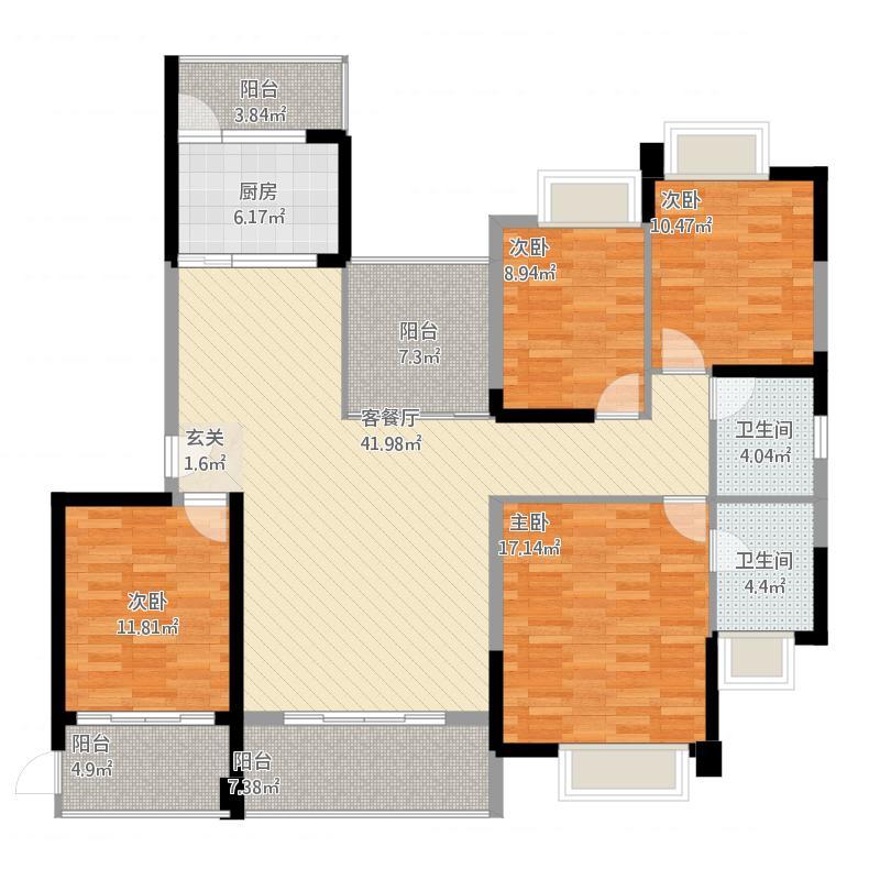 金山湖3中锴华章四房两厅两卫4室2厅2卫约170.20平米