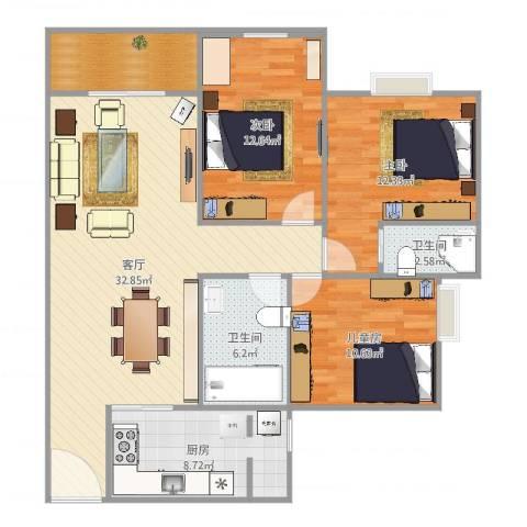 江南华都3室2厅2卫1厨114.00㎡户型图