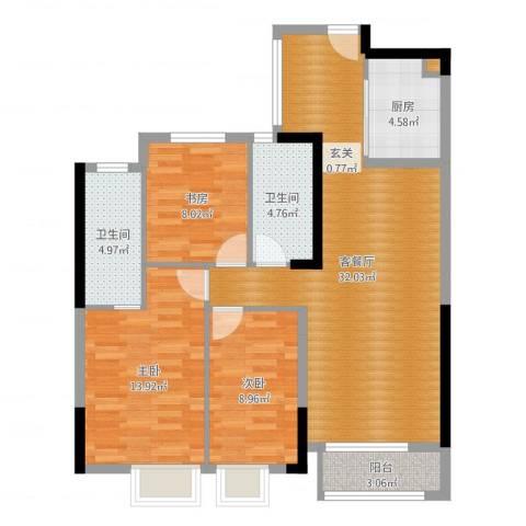 天阳云筑3室2厅2卫1厨101.00㎡户型图