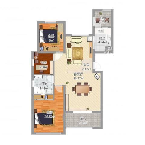 恒瑞大湖山语3室2厅2卫1厨105.00㎡户型图