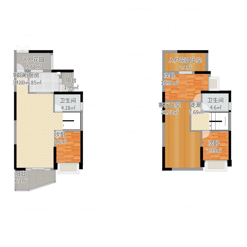 金山湖3中锴华章3室2厅2卫,约137.00平米