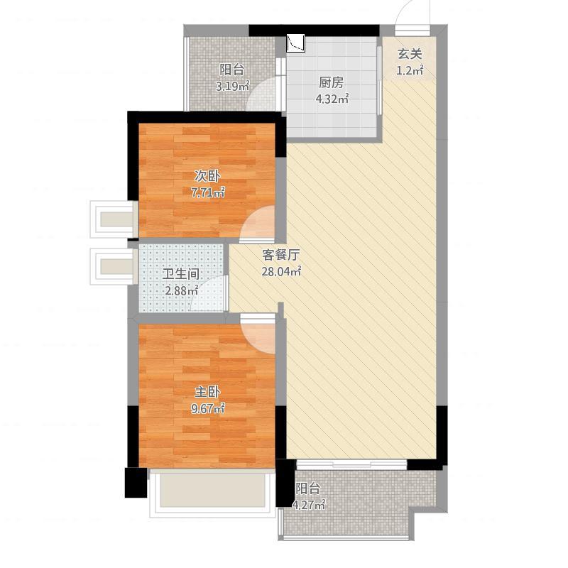 金山湖3中锴华章B户型,2室2厅1卫,约79.54平米