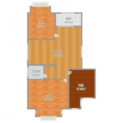 盘城新居3室2厅1卫1厨315.00㎡户型图