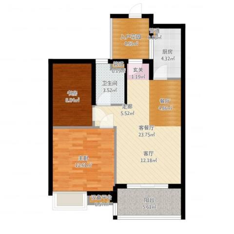绿城之江1号2室2厅1卫1厨79.00㎡户型图
