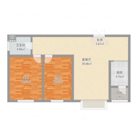 银河丽湾二期丽湾上品2室2厅1卫1厨100.00㎡户型图
