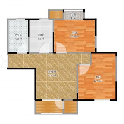 滨海欣嘉园2室2厅1卫1厨68.00㎡户型图